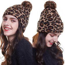 Fashion Women Leopard Knit Beanie Pom Cap Warm Winter Skull Hat Ski Outdoor Hats