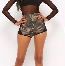 Forever 21 Camo Camouflage Black Contrast Short Shorts Hot Pants S NEW