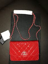 New NIB *RARE CHANEL Limited Edition RED Patent Leather Wallet On Chain WOC Bag