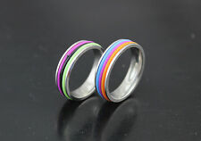 Wholesale Lots 10pcs stainless steel Colorful Rubber Trendy Unisex Rings L720