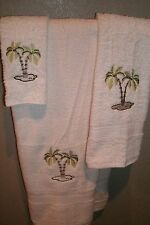 Palm Trees Ocean Nautical Personalized 3 Piece Bath Towel Set Color Choice