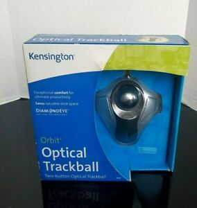 Kensington Optical Orbit Trackball Mouse, Two-Button, Black/Silver New