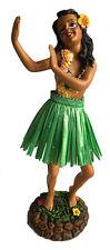 "Hawaiian Dashboard Hula Girl Doll Dancing Pose Green Skirt 7"" Wiggles Upper Body"