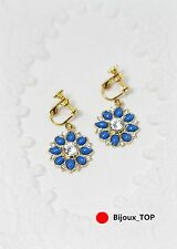 Rings`Ears Clips Flower Blue Fonece Marine Original Evening Marriage EE 7
