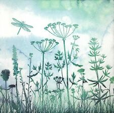 3x Single Paper Napkins For Decoupage Craft Tissue Meadow In Mist Dragonfly M278