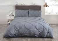 SILVER GREY PINTUCK COTTON BLEND DOUBLE 6 PIECE BEDDING SET
