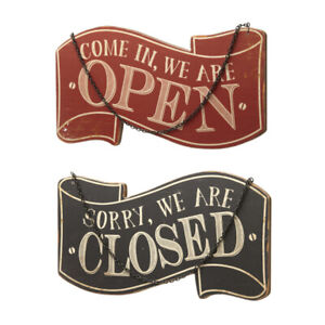 Open Closed Wooden Hanging Sign Shop Cafe Retail Vintage Retro Aged Red Black