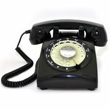 1960s style black vintage old fashioned rotary dial home telephone