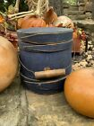 Primitive Antique  WOODEN STAVED FIRKIN  BUCKET BEAUTIFUL BLUE PAINT  For Pantry