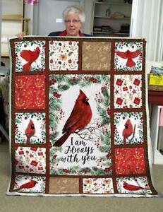 Xmas Cardinal I Am Always With You Fleece Blanket