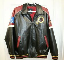 NFL Redskins Embroidered Faux Leather Jacket Mens Size 2XL