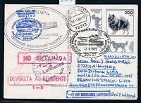 "81676) LH FF Frankfurt - Lima Peru 29.10.95, Karte SP ""DRESDEN"" SST Hamburg"