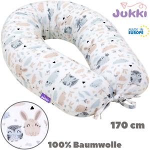 Schwangerschaftskissen Stillkissen Lagerungskissen XL 170cm Grau Tiere BAUMWOLLE