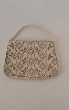 VINTAGE BEADED CLUTCH PURSE IVORY AND BRONZE
