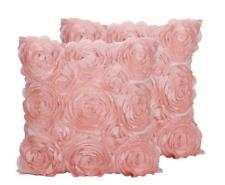 Shabby Chic Decor Pink Rose Ruffled Pillow Case Throw Cover Only Set Of 2 New