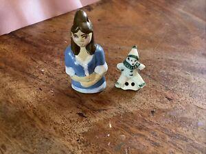 Vintage Unusual Pin Cushion Bisque Half Lady Doll & Clown/ Pixie Damaged