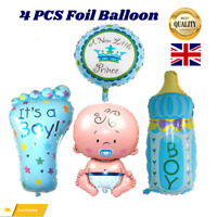 4Pcs Baby Shower Boy Foil Helium Balloon For Newborn Christening Birthday Party