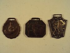 3 Antique Sport Watch Fobs / Canoeing, Track and Field, Hurdles, Soccer