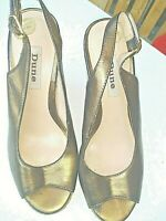 "Dune Uk5 Eu 38 Bronze Sling Back Peep-toe Wedges 2.5"" Summer Occasion"