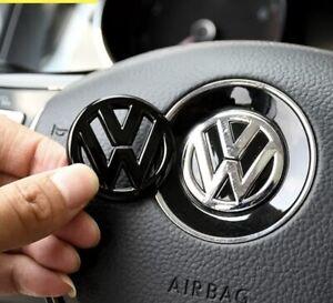VOLKSWAGEN GLOSSY BLACK BADGE FOR STEERING WHEEL EMBLEM LOGO ACCESSORIES CAR