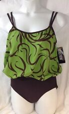 NEW MAINSTREAM 1 Piece Bathing Suit Size 14 Large L Green Brown Print Swimsuit