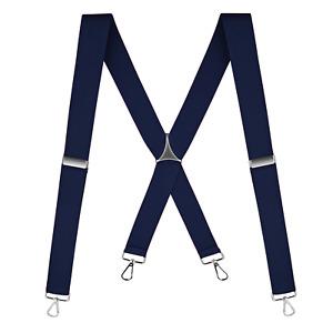 "Buyless Fashion Suspenders Men - 48"" Elastic Adjustable Straps 1 1/4"" - X Back"