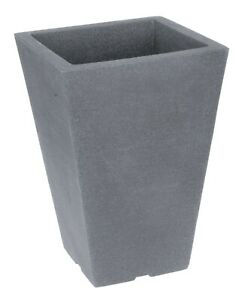 Tall Square Grey Indoor Outdoor Planter Plant Pot 35cm Tall Stone Effect