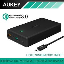AUKEY 30000mAh Power Bank Dual USB Output Mobile Portable Charg Quick Charge 3.0