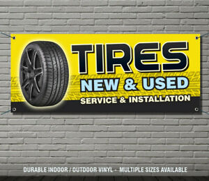 TIRES NEW & USED Service Installation Business Advertising Vinyl Banner Sign