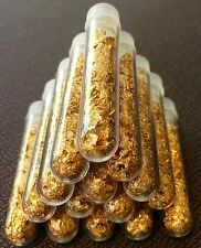 9 Large 3ml Vials.. Filled Full of Gold Leaf Flakes .. Lowest price online !!