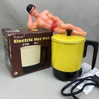 Valiant Vintage Lemon Yellow Enamel 4 Cup Electric Hot Pot Water Heater Kettle