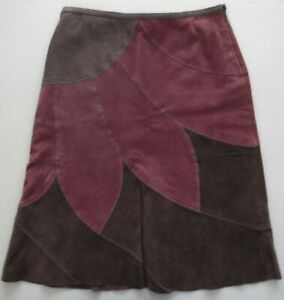 Bandolino Purple Brown Gray Floral Suede Leather Flare Skirt Size 4P
