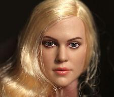 1:6 Scale Action Figure Blonde Female Woman Head Sculpt Planted Wig Hair