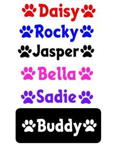 2x PERSONALISED NAME +2 PAW - DOG / CAT BOWL / BASKET  VINYL STICKER
