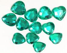 80 Pale Emerald Love Heart Beads Acrylic Rhinestone Gems 16 mm Flat Back Sew On