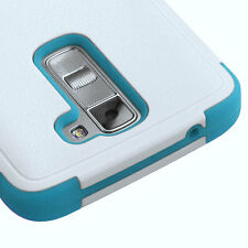 2016 NEW FOR LG Tribute 5 / K7 PHONE WHITE TEAL TUFF RUBBERIZED SKIN COVER CASE