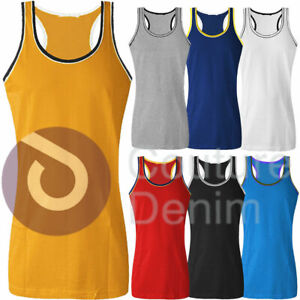 Mens Two Tone Muscle Vest Cotton Sleeveless Gym Tank Top Racerback Bodybuilding