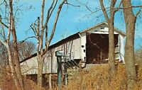 Mansfield Parke County Mansfield Covered Bridge Big Raccoon Creek Postcard B09