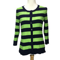 TALBOTS Blue Green Strip Cardigan Sweater Cable Knit Cotton Button Front Sz M