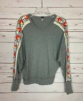 Free People We The Free Women's M Medium Gray Floral Embroidered Top Sweatshirt