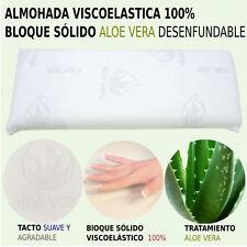2 Almohadas viscoelasticas 100% bloque solido 75cm Desenfundable Aloe Vera