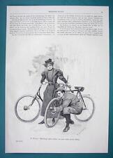BICYCLE Troubles Opera Singer Lieban & Wife - VICTORIAN Era Illustration