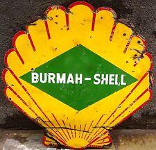 VINTAGE SHELL OIL COMPANY BURMAH-SHELL PETROL PUMP SIGN PORCELAIN ENAMEL GASOLIN