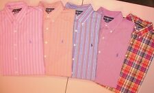 Lot of 5 Ralph Lauren Mens LARGE L/S BUTTON FRONT COLORFUL STRIPES  Shirts T5908
