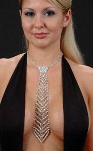 SEXY Rhinestone Crystal Necktie Choker Diamante Jewellery Clubwear Necklace #04