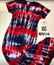 2X-SMALL LuLaRoe MARIA DRESS tie dye red white blue patriotic NWT UNICORN XXS