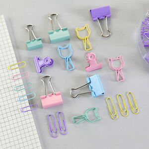 84Pcs Colored Fold Back Clips Binder Bulldog Clips Office Paper Document Tidy C