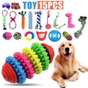 15PC Dog Braided Rope Toys Pet Puppy Chew Bite Toy Gift Tough Cotton Clean Teeth