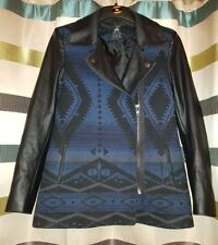 ATMOSPHERE BLUE AND BLACK JACKET WITH LONG FAUX LEATHER SLEEVES. UK SIZE 10