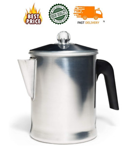 Heavy Duty Stove Top Percolator Yosemite Coffee Pot Maker 9-Cup Stainless Steel
